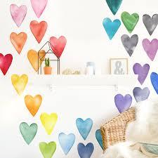 Large Rainbow Watercolor Hearts Mejmej