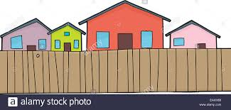 Cartoon Houses And Wooden Fence Over White Stock Photo Alamy
