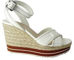 prada white leather ankle strap