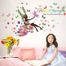 Fairy Girl Swing Butterfly Flowers Home Decor Wall Stickers For Kids Rooms Diy Wall Decals Mural Nursery Wall Decoration Sticker For Kids Room Wall Stickers For Kidswall Sticker Aliexpress