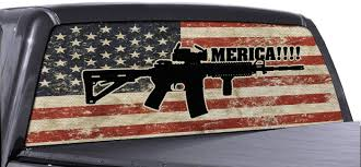Fgd Truck Ar 15 Merica Rear Window Decal Distressed American Flag Vinyl Wrap
