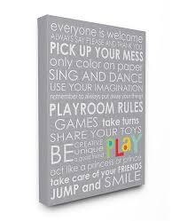 Stupell Industries Home Decor Everyone Is Welcome Playroom Rules On Gray Canvas Wall Art 16 X 20 Reviews All Wall Decor Home Decor Macy S