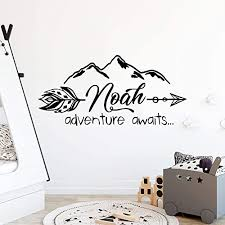 Amazon Com Personalized Name For Boys Adventure Awaits Wall Decal Mountains Arrow Custom Nursery Wall Decals Art Wall Vinyl Sticker Mountain Nursery Wall Decor Baby Name Wall Decal Vs75 Handmade