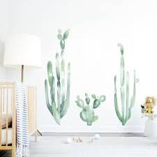 Cacti Wall Decal Kids Wall Decal Watercolor Mural Cactus Decal Etsy
