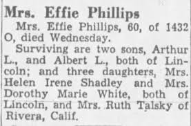 Obituary for Effie Phillips (Aged 60) - Newspapers.com