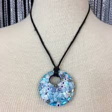 millefiori glass pendant necklace 925