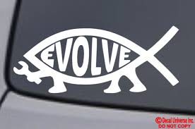 Evolve Fish Vinyl Decal Sticker Car Window Bumper Jesus Parody Atheist Darwin For Sale Online