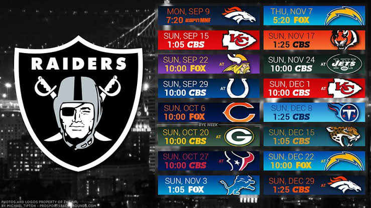 """Image result for raiders nfl 2019 schedule"""""""