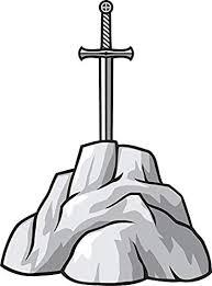 Amazon Com Simple Medieval Excalibur Sword In Rock Cartoon Vinyl Decal Bumper Sticker 4 Tall Kitchen Dining