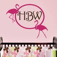 Monogram Wall Decal Flamingo Personalized Initial Boys Girls Name Nursery Children Room Vinyl Sticker Home Decor Murals W 61 Decoration Murale Stickers Home Decormonogram Wall Decal Aliexpress