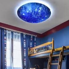 Universe Child Bedroom Flush Ceiling Light Glass Beautiful Led Blue Ceiling Lamp In Warm White Takeluckhome Com