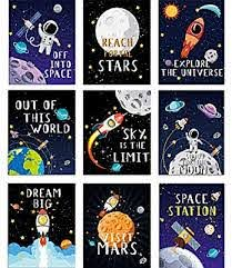 Amazon Com Blulu 9 Pieces Outer Space Decor Kids Nursery Bedroom Space Posters Decor 8 X 10 Inch Cute Inspirational Wall Art Decoration For Boys And Girls Playroom Bedroom Nursery Room Decor Posters