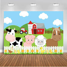 Farm Barnyard Birthday Backdrop Cartoon Red Barn Animals Party Background For Children Green Grass Fence Birthday Party Banner Background Aliexpress