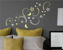 Shooting Stars And Moon Vinyl Wall Decals Wall Stickers Stars Star Wall Decals Moon Wall Decal