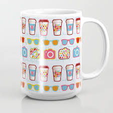 blue cup coffee pattern hipster coffee shop have a nice day fun