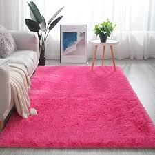 Amazon Com Dm Fc Shaggy Rug For Living Room High Pile Plush Carpet Non Slip Indoor Fluffy Thick Area Rug Children Play Mat Bedroom Bedside Nursery Rugs Rose Red 200x160cm 79x63inch Home Kitchen