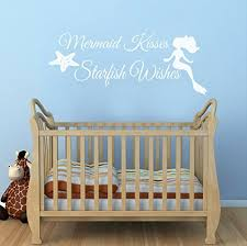 Wall Decal Decor Mermaid Wall Decal Quote Mermaid Kisses Starfish Wishes Girls Room Baby Crib Wall Decal Sticker Vinyl Wall Art 28 H X12 W White Baby B01kxqq9le