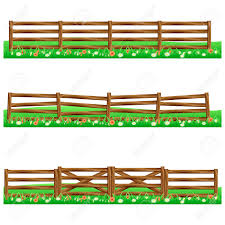 Set Of Farm Wooden Fences Isolated On White Background With Grass Royalty Free Cliparts Vectors And Stock Illustration Image 76741537