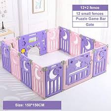 Amazon Com Dgyaxin Baby Playpen Child Safety Fence Household Crawling Mat Toddler Indoor Guardrail Paradise Combination Purple Home Kitchen