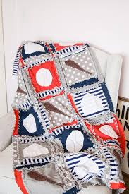 baby boy sports rag quilt for vintage