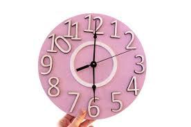 Wall Clock Large Pink Wall Clock Kids Room Wall Decor Children Etsy