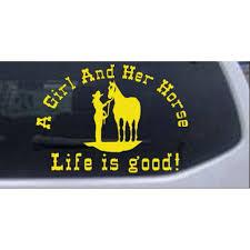 A Cowgirl And Her Horse Car Or Truck Window Decal Sticker Walmart Com Walmart Com