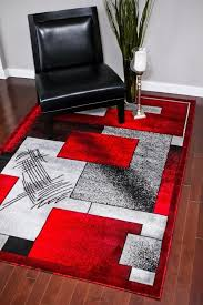 red and black modern rug from a scene