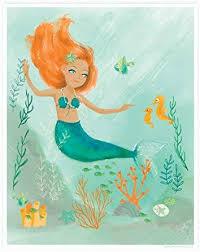Amazon Com Sea Urchin Studio Watercolor Mermaid Wall Art 12 X16 Nursery Wall Decor For Girls Kids Room Art Bathroom Art Home Kitchen