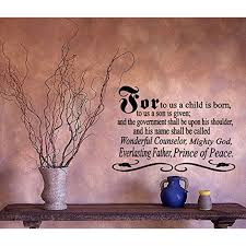 For To Us A Child Is Bornprince Of Peace Wall Decal 20 X 28 Black Walmart Com Walmart Com