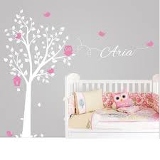 Poomoo Stickers Owl Tree Wall Sticker Personalized Name Vinyl Wall Decals For Nursery Boys And Girls Room Decor Home Decoration Vinyl Wall Decals Name Wall Decalswall Decals Aliexpress