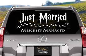 Harry Potter Just Married Wedding Vinyl Window Cling Decal Harry Potter Wedding Harry Potter Wedding Theme Just Married Car