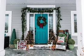 teal christmas front porch decor ideas
