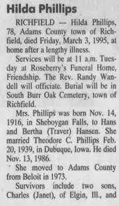 Obituary for Hilda Phillips, 1916-1995 (Aged 78) - Newspapers.com