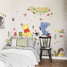 Disney Winnie Pooh Wall Stickers Bedroom Nursery Home Decor Cartoon Animals Wall Decals Pvc Posters Diy Mural Art Wallpaper Leather Bag