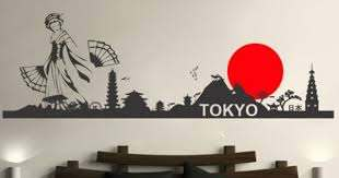 Oriental Tokyo Skyline Wall Decals Home Wallart Decals Desenhos