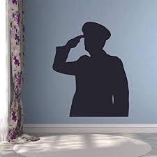 Amazon Com Soldier Military Army Hero Salute Wall Sticker Vinyl Wall Art Decal For Girls Boys Baby Kid Bedroom Nursery Daycare Kindergarten Cartoon Home Decor Stickers Wall Art Vinyl Decoration Size 20x18 Inch