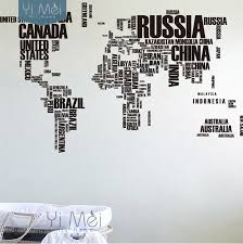 Large World Map Countries Letters Names Educational Wallpapers Decals Mural Art Kids 116 190cm Wall Sticker Text Home Decor Diy Home Decor World Map Countriesdecor Diy Aliexpress