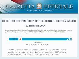 Decreto del Presidente del Consiglio dei Ministri 25 02 2020