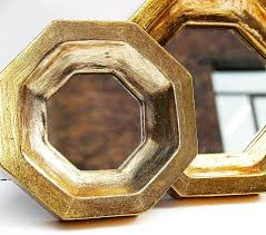 set of 2 octagon gold leaf wall mirrors