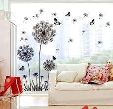 Amazon Com Ufengke Black Dandelions And Butterflies Flying In The Wind Wall Decals Living Room Bedroom Removable Wall Stickers Murals Home Kitchen
