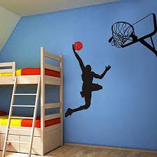 Amazon Com Vinyl Basketball Wall Decal Basketball Action Wall Decor Dunking Ball Into The Net Vinyl Wall Art Sticker Wall Graphic Home Wall Design 1 Player Basketball Hoop Black Basketball Tomato Red Home Kitchen
