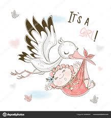 Аист Вынашивает Девочку Открытка День Рождения Моей Дочери Вектор —  Векторное изображение © grigaolga #339494254