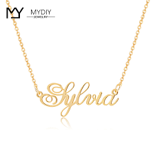 customized name necklace 14k real gold