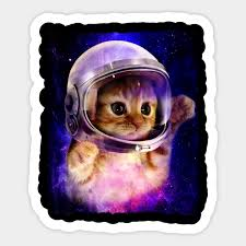 Cute Space Cat Astronaut Kitty Space Helmet Deep Space Cat Astronaut Sticker Teepublic