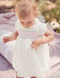 nostalgic smocked dress ivory boden us