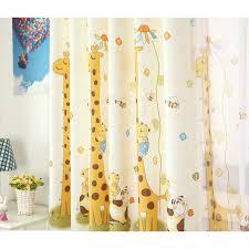 Discount Cartoon Giraffe Yellow Kids Curtains For Bedroom