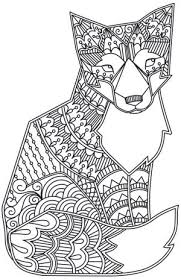 Doodle Fox Design Coloring Page Coloring Pages Colouring Adult