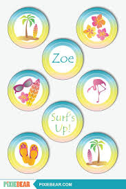 Beach Cupcake Toppers Printable Surf Party Toppers And Wrappers Summer Cupcake Toppers For Beach Birthday Instant Download Editable Pdf Etiquetas Imprimibles Gratis Etiquetas Imprimibles Y Imprimibles