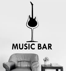 Vinyl Wall Decal Music Musical Bar Decor Drink Alcohol Stickers Unique Gift Ig3465 Music Wall Stickers Music Wall Decal Vinyl Wall Decals