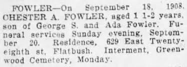 Baby Chester Fowler obit in paper - Newspapers.com